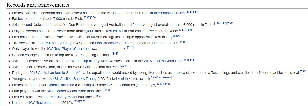Records held by Steve Smith