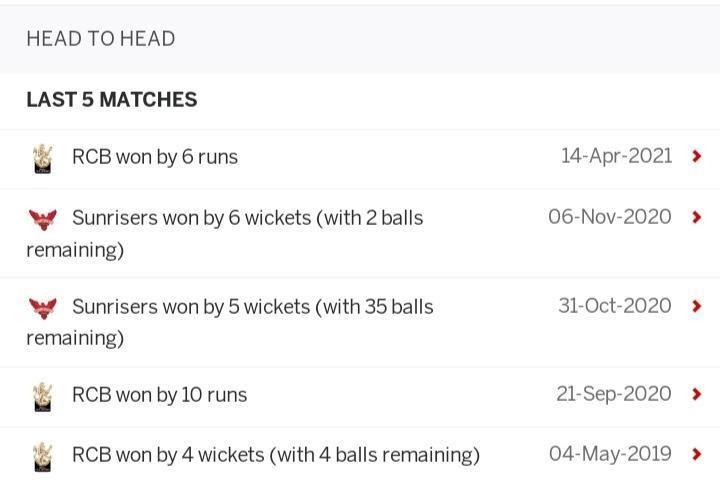 Royal Challengers Bangalore vs Sunrisers Hyderabad, October 6, IPL 2021